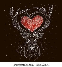 starry sky constellation deer. heart, love
