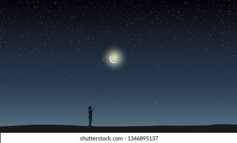 Starry sky, field, boy holding a balloon in the form of the moon.