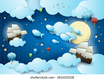 Starry sky with flying fishes and vessels, surreal illustration vector eps10