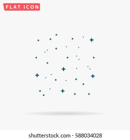 Starry sky Icon Vector. Flat simple Blue pictogram on white background. Illustration symbol with shadow