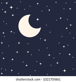 Starry sky with moon background flat vector