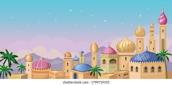 Starry sky. Oriental tale. Fairytale Arabic landscape with traditional mud houses,  ancient temple, Mosque. Muslim Cityscape.  Building Religion. Cartoon fabulous Wallpaper. East architecture. Vector.