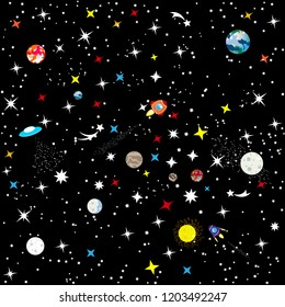 The starry sky of the universe. Spaceship in space among stars, planet Earth and stars. Abstract seamless background the constellation of the Galaxy on a black background. Vector.