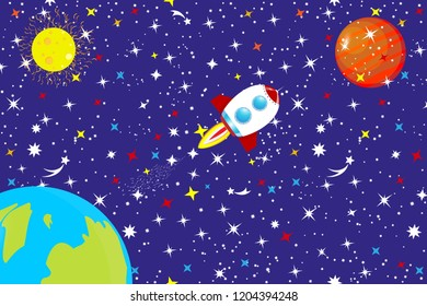 The starry sky of the universe. A spaceship in space among stars, planet Earth and stars flies to Mars. Abstract background the constellation of the Galaxy on a background. Vector illustration.