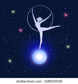 Starry sky - woman with a hoop - illustration, abstract, art, vector. Magic. Occultism. Space galaxy