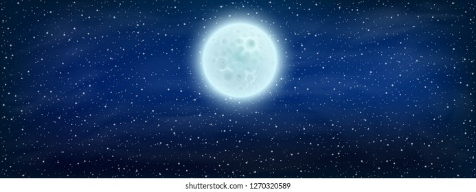 Starry space background with moon - stock vector