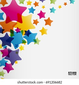 Stars background, abstract vector design pattern, colorful elements on a white background.