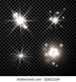 Stars black-white set isolated on black background. Vector Illustration.