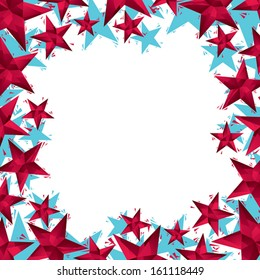 Stars border made in contemporary geometric style, vector background.