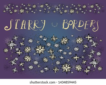 Stars borders, night sky, moravian stars, isolated vector drawing in vintage style