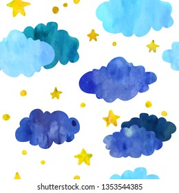 Stars and clouds. Seamless pattern. Watercolour imitation.