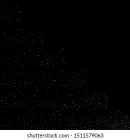 Stars Confetti. Gold, Blue stars, shiny confetti.  Scattered little sparkling, glitter star. Random stellar falling on black background. New Year Christmas background. Vector illustration.