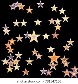 Stars confetti. Vector cosmic abstract frame background. Christmas, new year celebration, birthday party, carnival or festival glamour design. Luxury stardust. Shiny festive colorful glitter