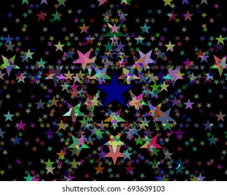 Stars of different colors on a black background
