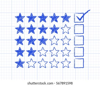 Stars with five rating ticked on graph paper background