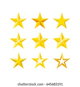 Stars icon set. Modern flat five-pointed stars illustration.