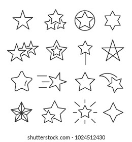 Stars line icon set. Decorative star-shaped objects, holiday season symbol, special event design. Vector line art stars illustration isolated on white background