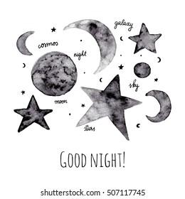 Stars and moon greeting card. Watercolor hand drawn illustration.