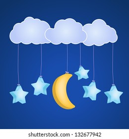 stars and moon hanging on clouds  as childish background