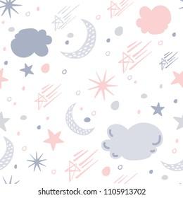 Stars and moon pattern design, vector illustration.