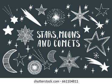 Stars, moons, comets. Hand drawn vector.