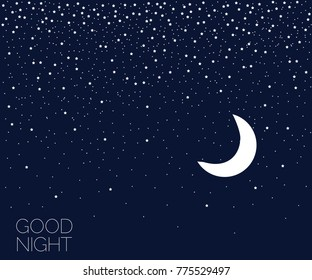 Stars in night sky. Dreaming time. Concept idea. Good night. Place for your text. Vector illustration. EPS 8