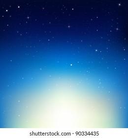 Stars In Night Sky, Vector Illustration