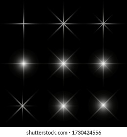 stars on a black background with light effects