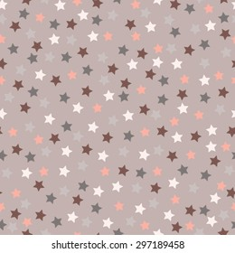 Stars on coffee taupe seamless vector background