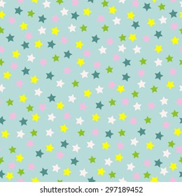 Stars on powder blue seamless vector background