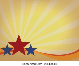Stars on a Sun Burst Background in Vintage Colors Room for Text