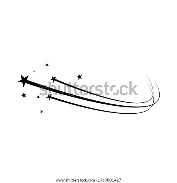 Stars on a white background. Black star, shooting star. Meteoroid, comet, asteroid, stars trek. Vector illustration EPS 10.