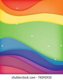 Stars over a curve rainbow background