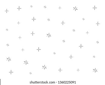 Stars pattern. Cosmos, space, univrse black and white sketch. Stars cute doodle baby elements. Childish background. Hand drown stars design elements for kids Vector illustration