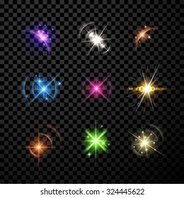 Stars and planet set isolated on black background. Vector Illustration.