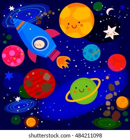 stars and planets colorful illustration