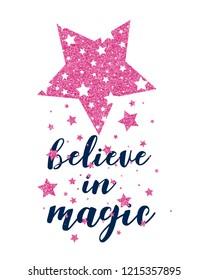 Stars print design with slogan. Vector illustration design for fashion fabrics, textile graphics, prints.