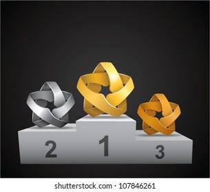 stars prize podium (gold, silver & bronze)