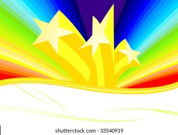 Stars and rainbow; clip-art