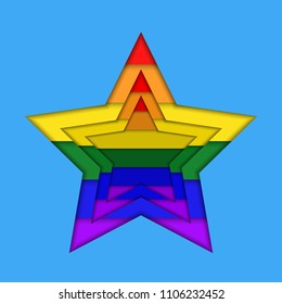 Stars in rainbow colors in paper cut style flat vector icon.