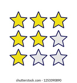 Stars rating color icon. Customer feedback and review. Low, high, moderate ranking scale. Isolated vector illustration