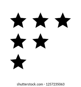 Stars rating glyph icon. Customer feedback and review. Low, high, moderate ranking scale. Silhouette symbol. Negative space. Vector isolated illustration