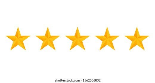 Stars rating icon set. Gold star icon set isolated on a white background. Five stars customer product rating review flat icon for apps and websites.