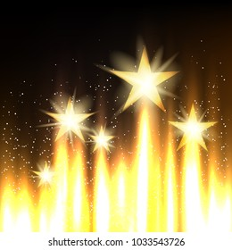 Stars rise up to glory on gold background. Golden cinematography entertainment industry backdrop