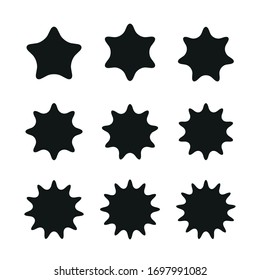 Stars rounded five yo thirteen points vectors
