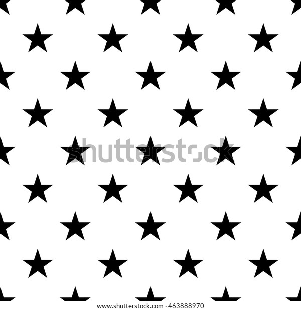 Stars Seamless Pattern Black White Retro Stock Vector Royalty Free 463888970