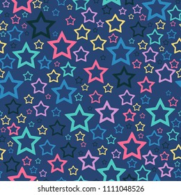 Stars seamless pattern. Color stars on dark blue background for background, texture or ads