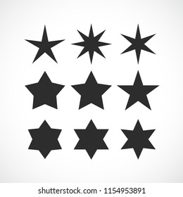 Stars shapes vector collection isolated on white background
