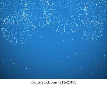 Stars and shiny fireworks on blue background, illustration.