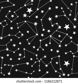 Stars and sky. Constellation seamless pattern.